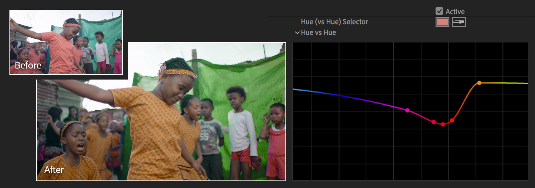 Hue versus Hue curve adjustment