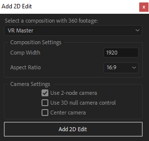 Add 2D Edit settings