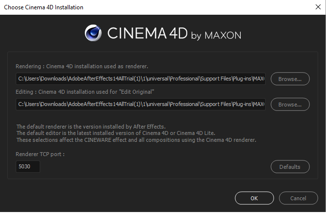 Choose CINEMA 4D Installation
