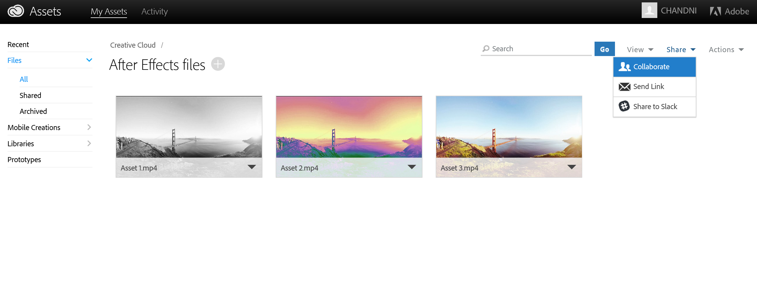 Sharing and collaborating assets from the Creative Cloud Assets page
