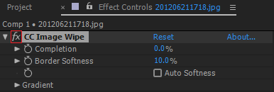 The Effect switch in the Effect Controls panel turns a specific effect on or off
