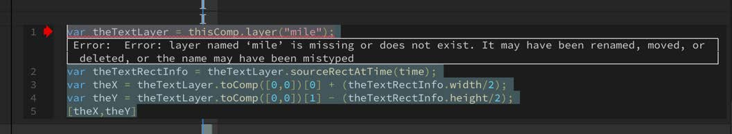 Error message displayed in the code snippet
