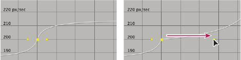 Extending a Bezier direction handle in the speed graph