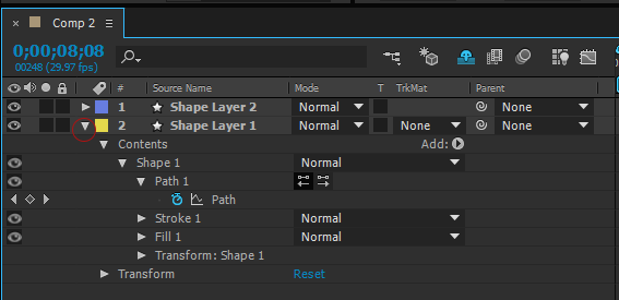 Expanded Layer properties in the Timeline panel