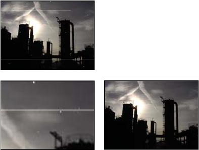 有划痕的原始图像(左上图)、放大的划痕视图(左下图)、移除划痕且清晰度降低的图像(右下图)