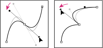 Adjusting the direction lines on a smooth point (left) and a corner point (right)