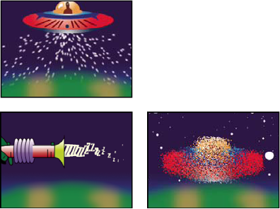 Particle Playground effect: Particles shooting out of the spacecraft layer, text characters used as particles shooting out of a ray gun, and Layer Exploder used on spacecraft layer