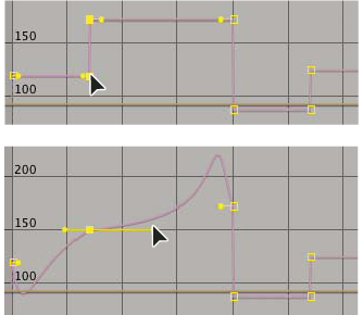 Linear interpolation (top) causes sharp changes; Bezier interpolation (bottom) creates smoother changes