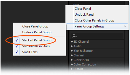 Panel group settings