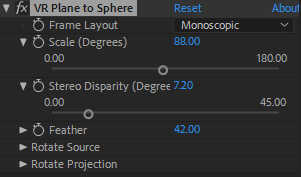 VR Plane to Sphere settings