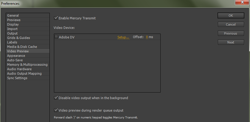 Video preview preferences