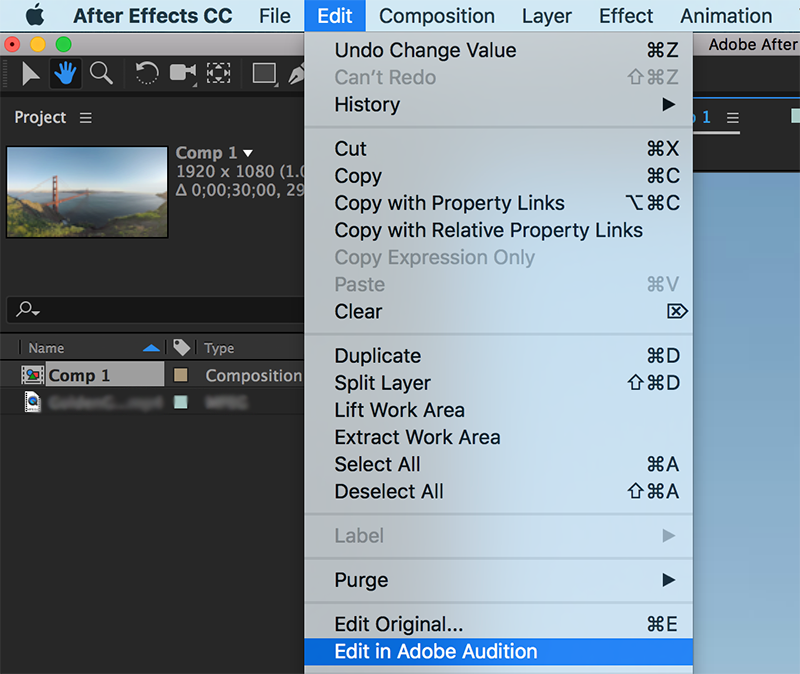 Editing layers with audio in a Team Project with Adobe Audition