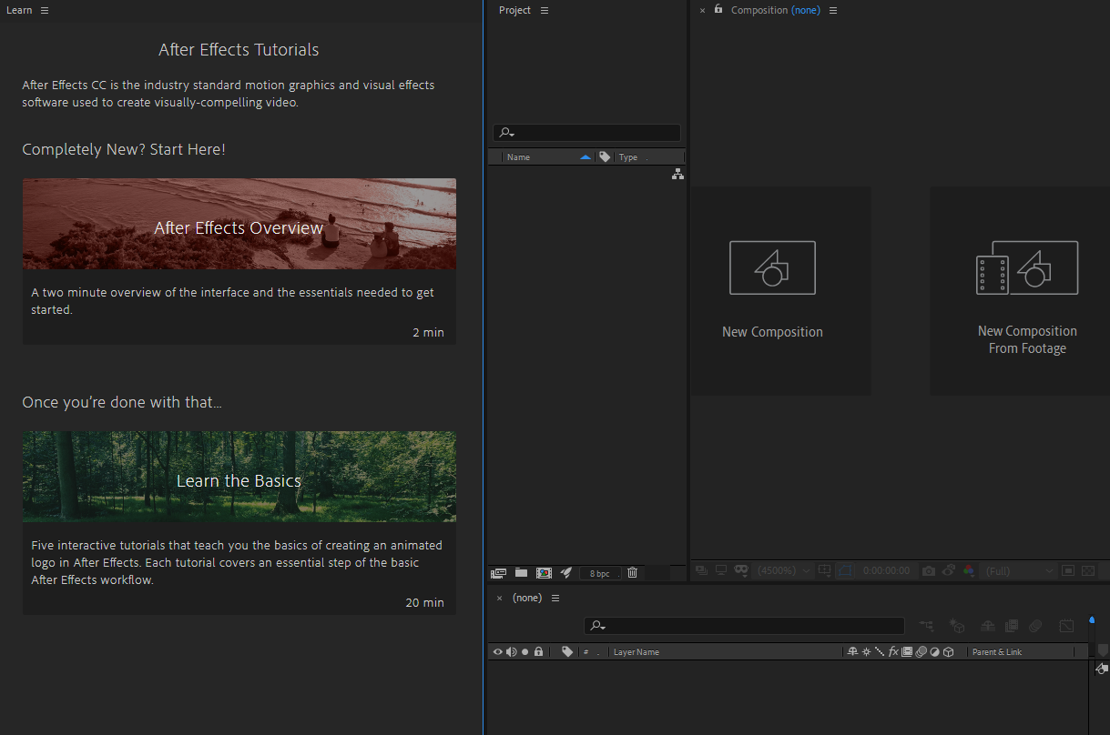 Workspaces, panels, and viewers in After Effects