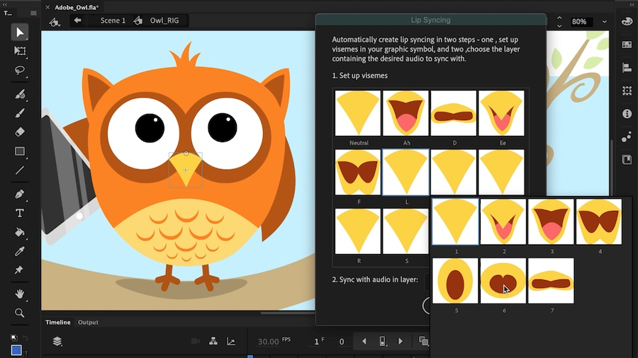 Vector artwork of an owl with its beak selected displays next to the Lip Syncing panel with a series of visemes