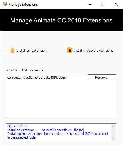 Manage Animate Extensions