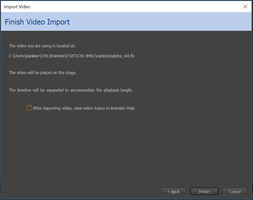 Finish video import dialog