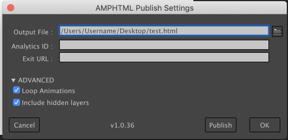 AMPHTML Publish Settings