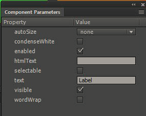 Component parameters panel