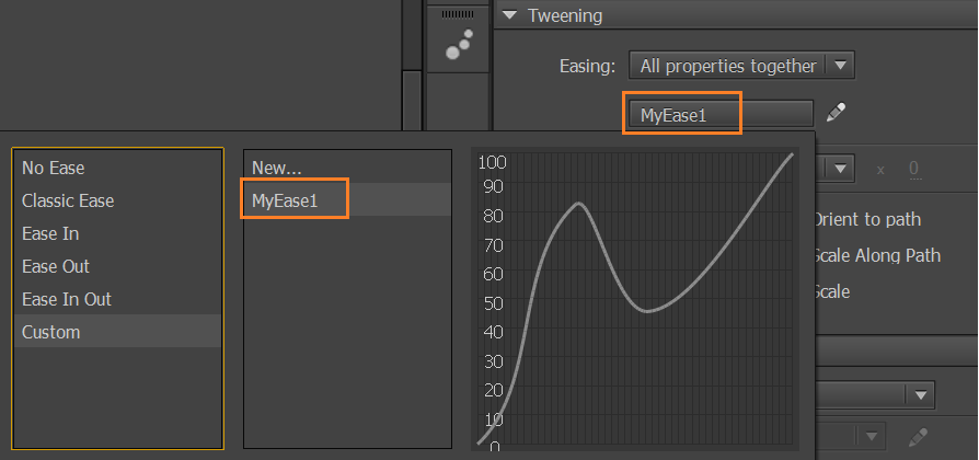Customized easing preset