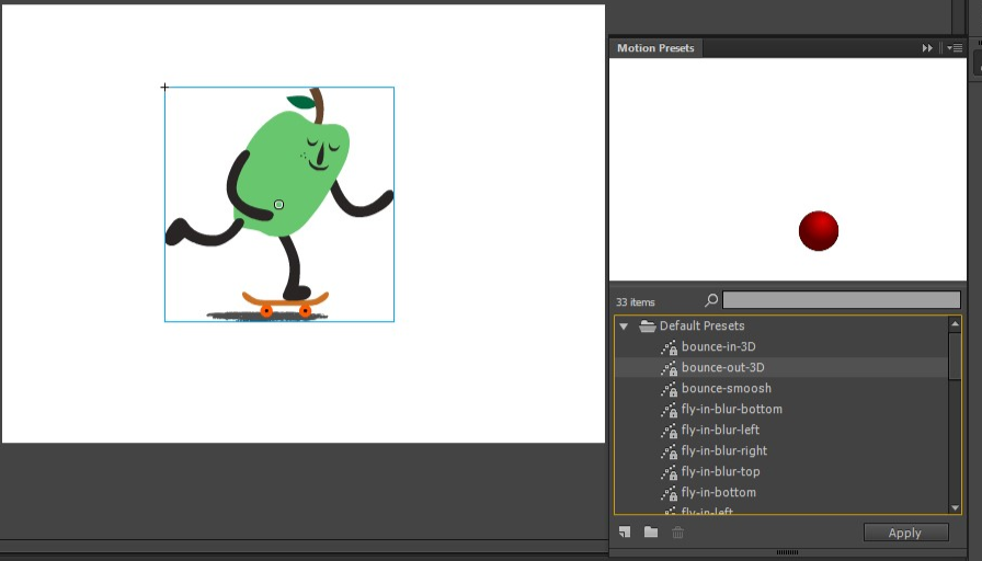 Creating and Applying Motion Presets in Adobe Animate