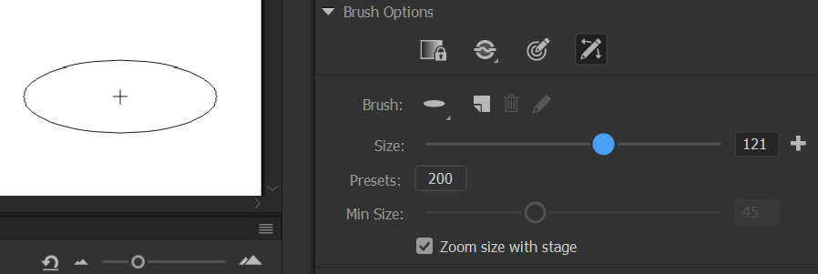 Brush size slider - Live preview