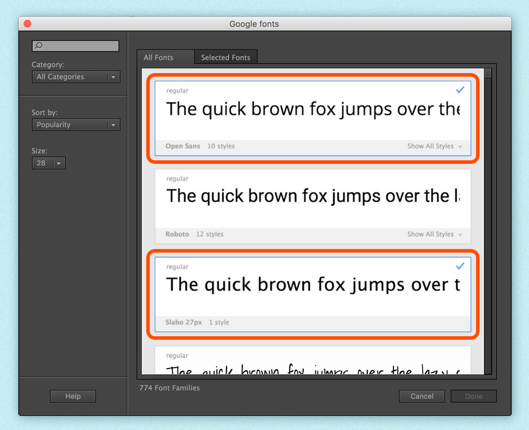 Using Google fonts in Animate