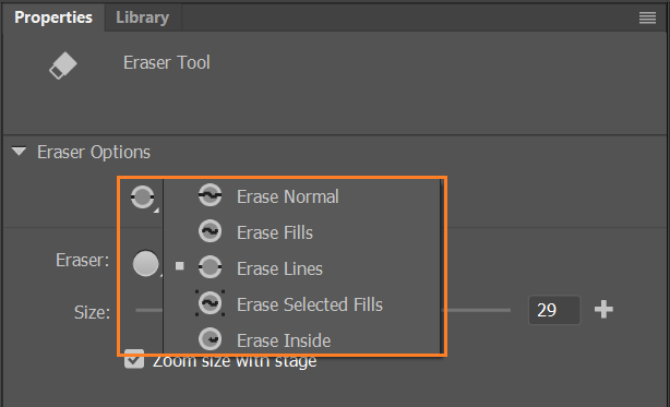 Eraser mode modifiers