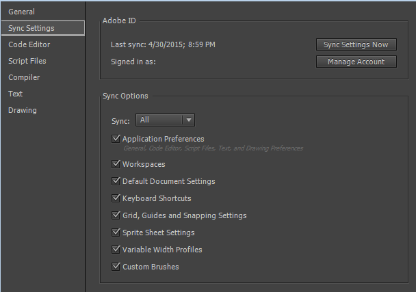 Sync Settings tab in the Preferences dialog box