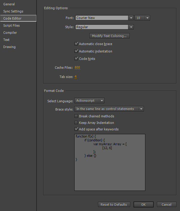 Code Editor tab in the Preferences dialog box