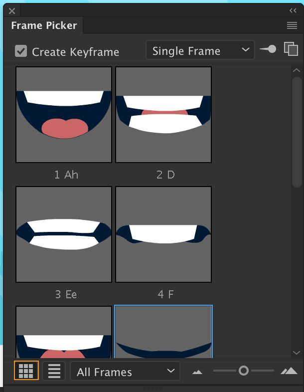 Using symbol instances, frame picker, auto Lip sync in Animate