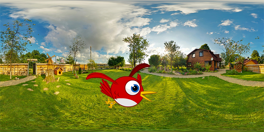 panorama outside vacation wooden village home in sunny evening day . Full 360 degree seamless panorama in equirectangular spherical projection