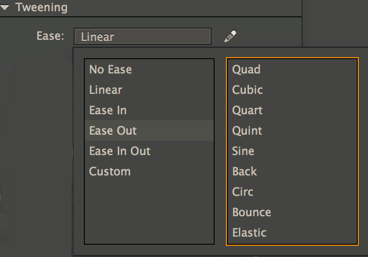 Ease preset options