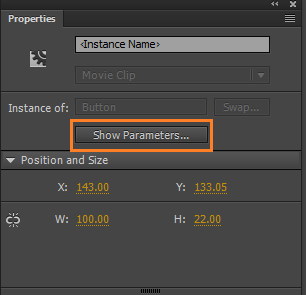 Show parameters button in Property inspector