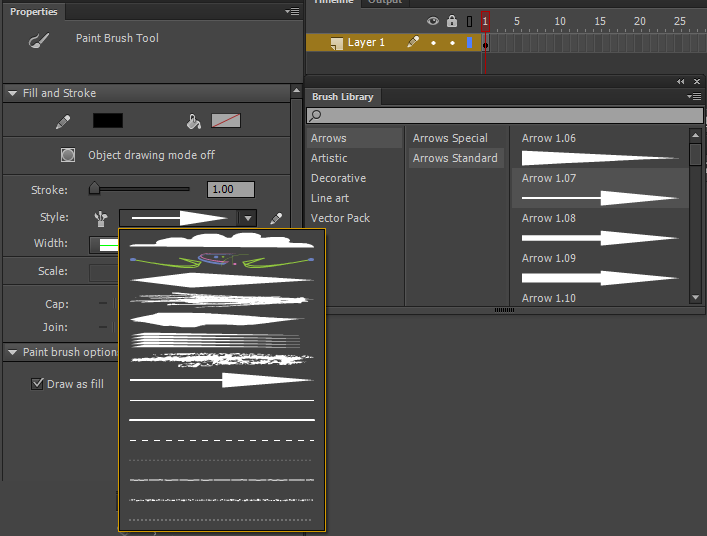 Drawing Smooth Lines With A Tablet : Using paint brush in animate cc