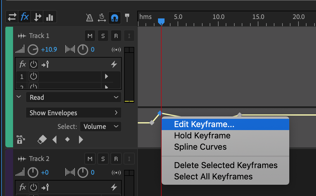 Automate mixes with envelopes in Adobe Audition CC