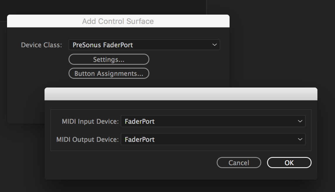 Control surface settings