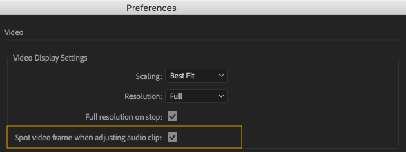 Video preference setting