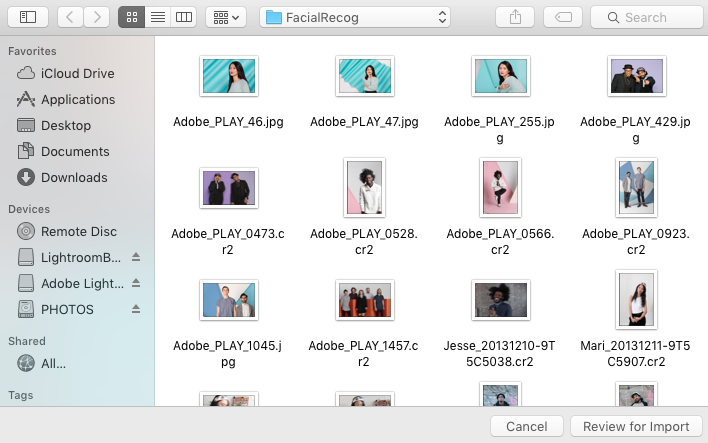 Select image files or folders