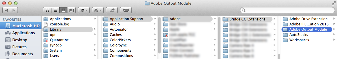 Adobe Output Module folder location