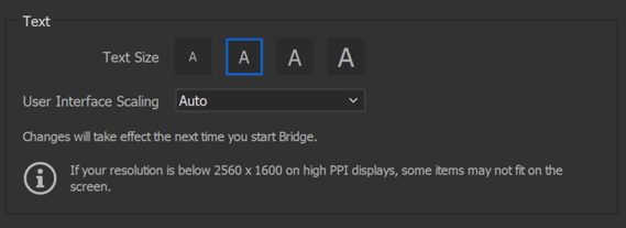 User Interface Scaling option in Bridge Preferences