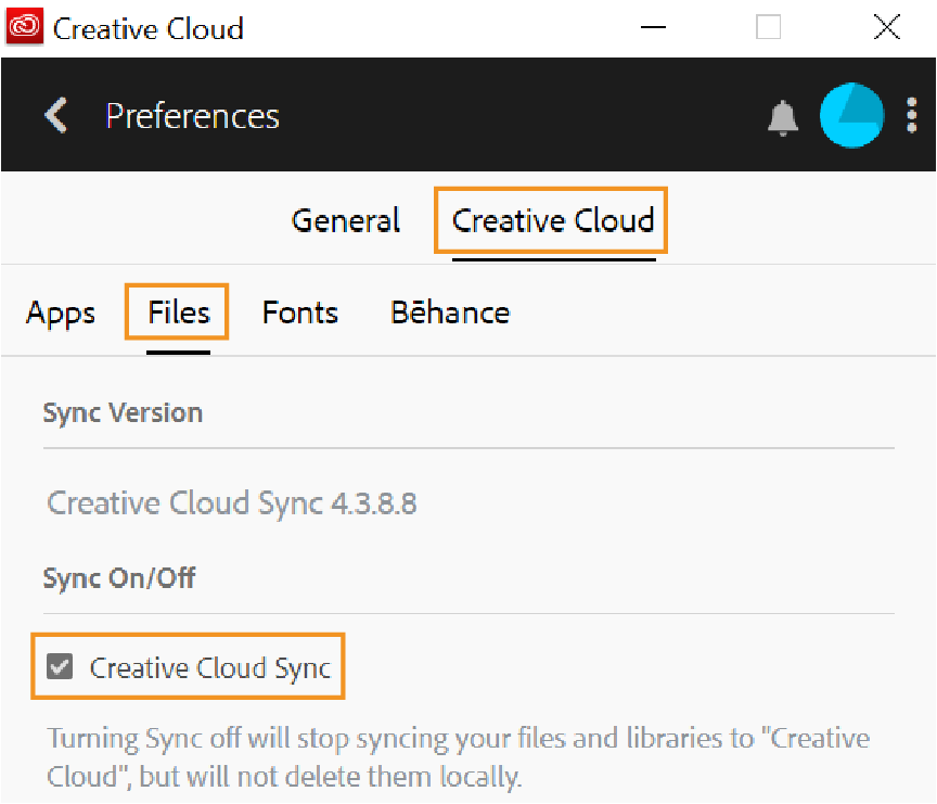 Sync Creative Cloud files and libraries to Creative Cloud