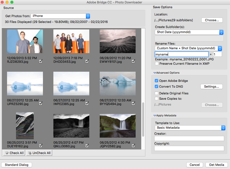 Adobe Bridge CC - Photo Downloader (Avancerad dialogruta)