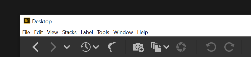 Earlier versions of Bridge without consistent color theme in the Menu bar on Windows 10