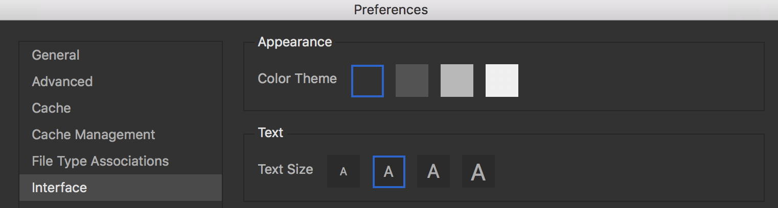 Changing the user interface preferences