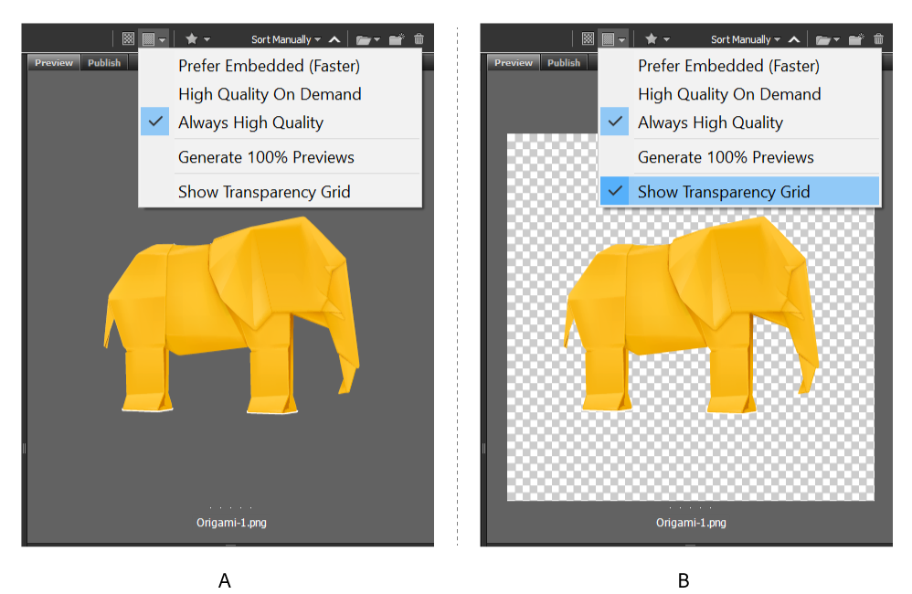Transparency support for PNG and SVG files