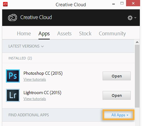 Programme d'installation Creative Cloud