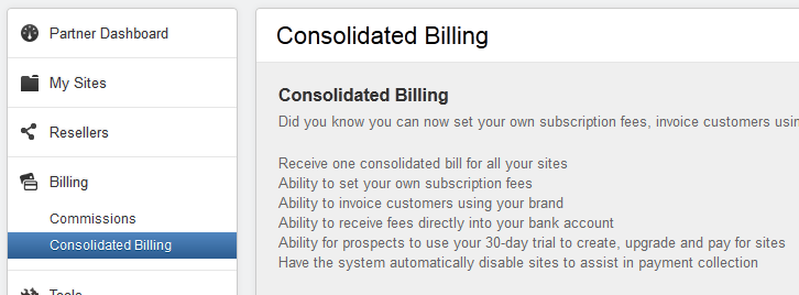 Consolidating billing 2019 list