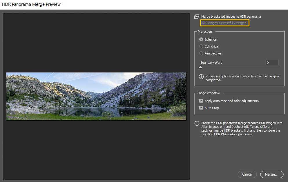 HDR Panorama Merge Preview