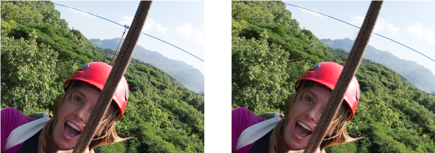 The zipline that appears to be connecting the wire and the helmet (image left) has been removed (image right)