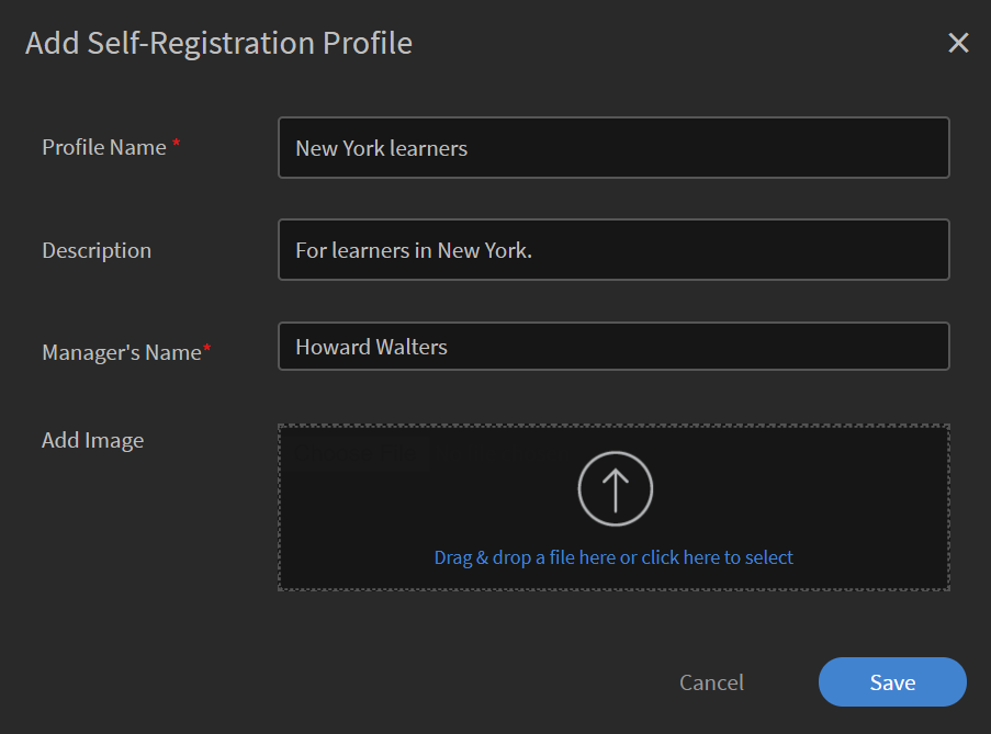 Add a self registration profile